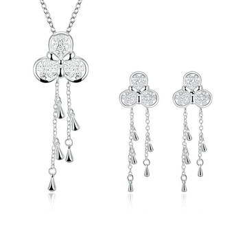 Bridal Party Necklace Earrings Jewelry Sets Silver One size