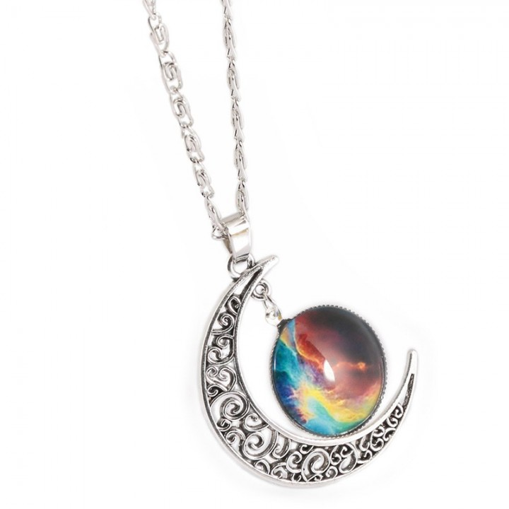 Fashionable Galaxy Necklace Hollow Out Crescent with Carving Blue+Brown One size