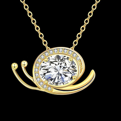 24K Gold Zircon Necklace Fashion Jewelry Necklace Golden One size