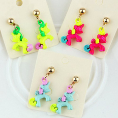 Pair of Fashion Girls' Fluorescence Color Horse Earrings As the picture One size