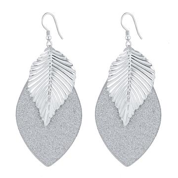 Leaf Oval Earrings Silver One size