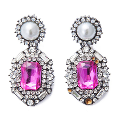 Pair of Rhinestone Diamond Shape Stylish Earrings As the picture One size