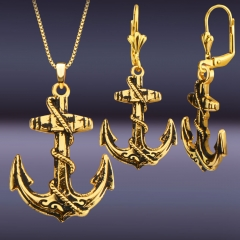 Anchor Pattern 18K Gold Plated Necklace Earring Jewelry Sets Golden One size
