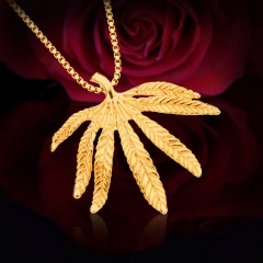 Vintage Leaf Shape Pendant 18k Gold Plated Necklace Golden One size