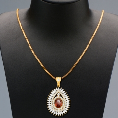 Water Drop Pendant Zirconia Embellished 18k Gold Plated Necklace Golden One size
