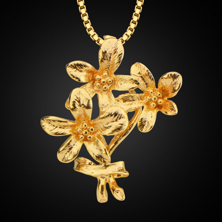 Flowers Shape Pendant 18k Gold Plated Necklace Golden One size
