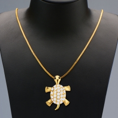 Activity Turtle Head Leg Tail Crystal Embellished 18k Gold Plated Necklace Golden One size