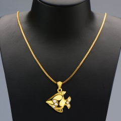 Tropical Fish Pendant Crystal Embellished 18k Gold Plated Necklace Golden One size
