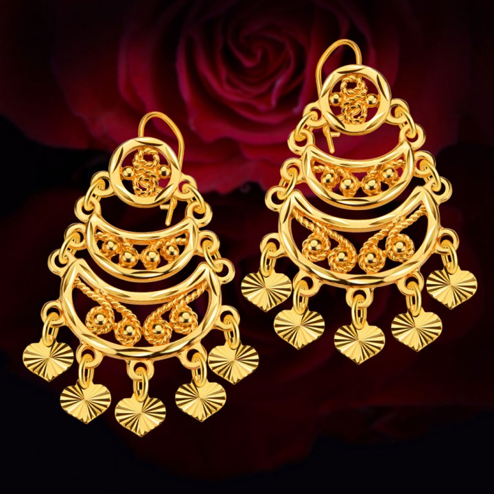 Heart Moon Bead Copper Coin Hollow Out 18k Gold Plated Drop Earrings Golden One size