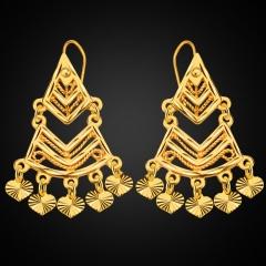Heart Geometric 18k Gold Plated Drop Earrings Golden One size