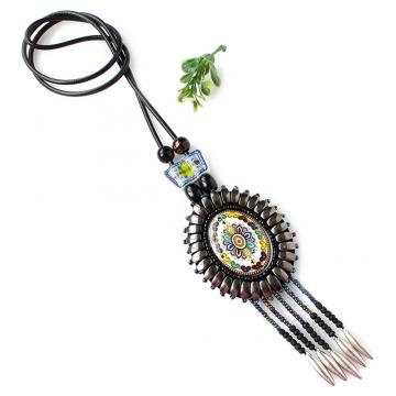 Women Bohemia Weave Flower Bead Ceramics Sweater Pendant Necklace Gun metal One size