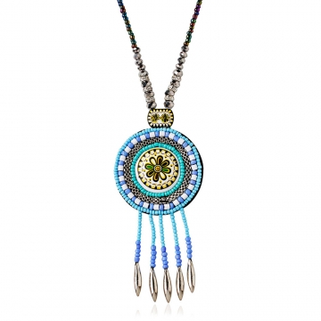 Bohemia Weave Flower Bead Ceramics Sweater Pendant Necklace for Lady Silver One size