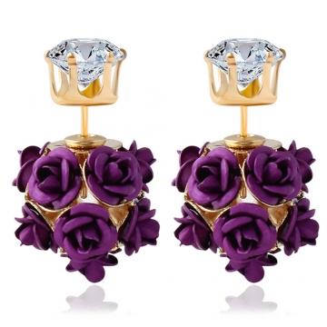 3D Rose Rhinestone Embellishment Hollow Stud Earrings for Women Purple One size