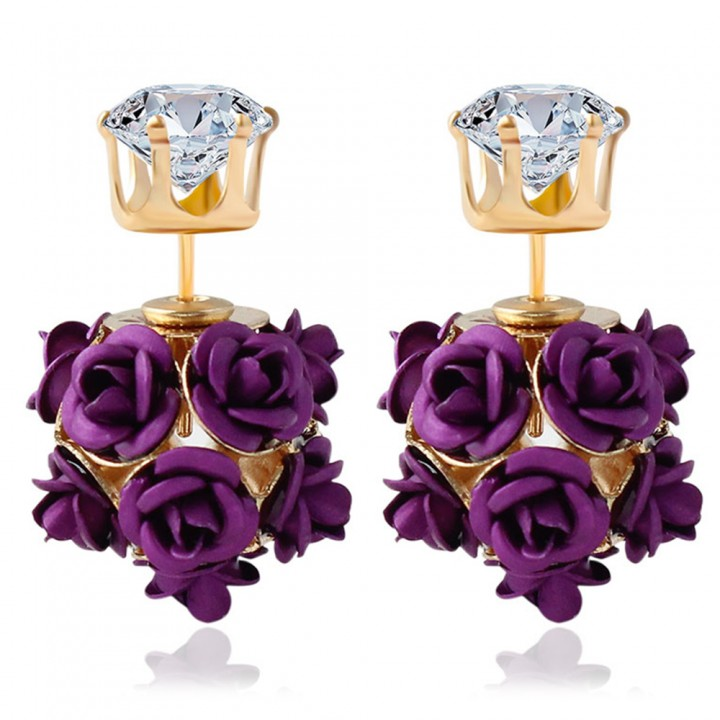 3D Rose Rhinestone Embellishment Hollow Stud Earrings for Women Purple One size