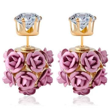 3D Rose Rhinestone Embellishment Hollow Stud Earrings for Women Pink One size