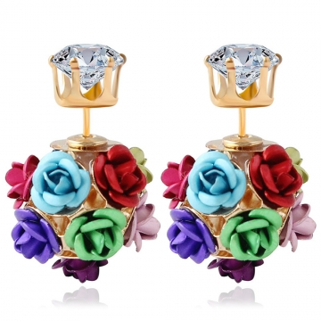 3D Rose Rhinestone Embellishment Hollow Stud Earrings for Women Colorful One size