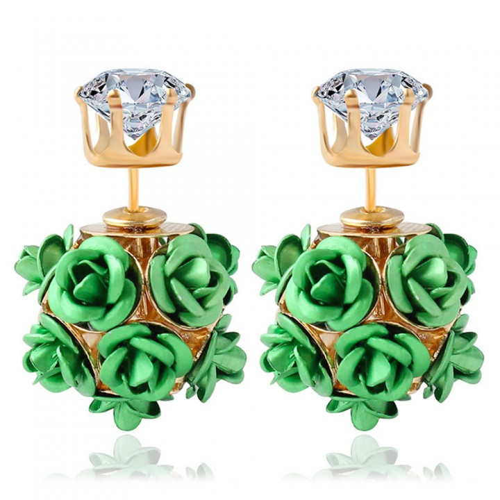 3D Rose Rhinestone Embellishment Hollow Stud Earrings for Women Green One size