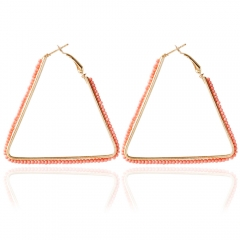 Bohemia Triangle Bead Hollow Hoop Earrings for Women pink One size