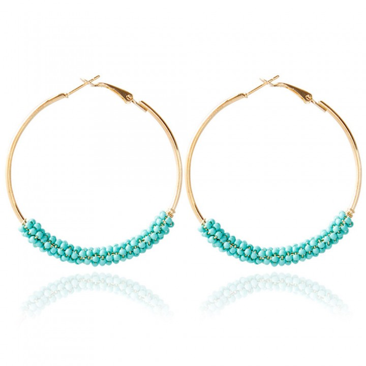 Bohemia Bead Round Hoop Earrings for Women Blue One size