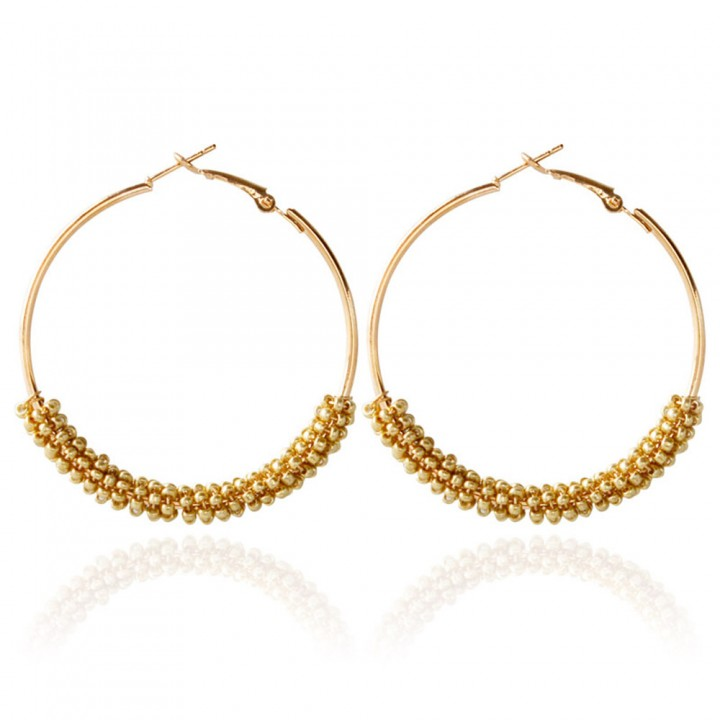 Bohemia Bead Round Hoop Earrings for Women Colorful One size