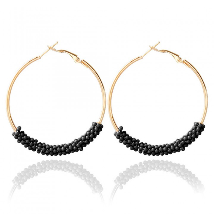 Bohemia Bead Round Hoop Earrings for Women Black One size