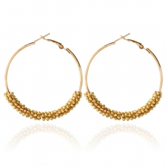 Bohemia Bead Round Hoop Earrings for Women Golden One size
