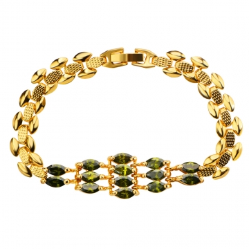 18k Gold Plated Romantic Bracelet for Women Wedding Jewelry Gifts Golden One size