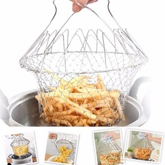Fry French Chef Basket Foldable Steam Rinse Stainless Steel Strainer Basket for Kitchen Cooking Silver Medium