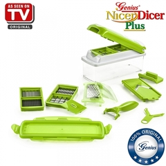 Nicer Dicer Plus by Genius | 13 pieces | Fruit vegetable slicer | Food-Chopper PRO green one size