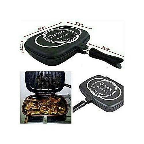Dessini Double Pan /Meat Grill+ Non Stick - 36CM black 36CM