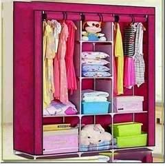 3 Columns Portable Wardrobe Pink
