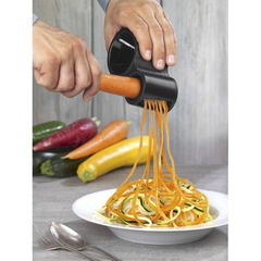 Vegetable Fruit Spiral Shred Process Device Cutter Slicer  Spiralizer Peeler Cutter+Knife Sharpener black one size