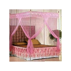 4 stand Straight mosquito net Pink 4X6