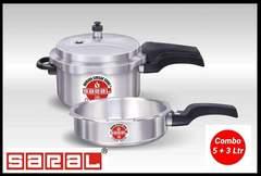 2pc Combo Saral Aluminium Pressure cooker 5L+3L silver one size