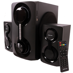 GoldenTech AM-265 Multimedia Speaker System 2.1 USB SD Card Reader Bluetooth and FM Radio Woofer Black 10000 AM-265