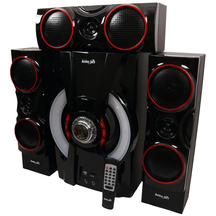 GoldenTech AD-111 Multimedia Speaker System 3.1 Bluetooth USB SD Card Reader and FM Radio Woofer black 50000w AD-111