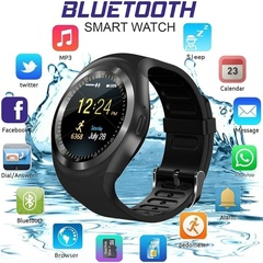 New Bluetooth Smartwatch Y1 with Camera TouchScreen SIM Card Slot Waterproof Phones Black