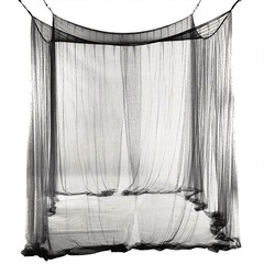 4 Corner Post Bed Canopy Mosquito Net Full Queen King Size Netting Black Bedding Home Decor Black one size