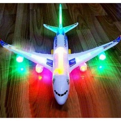 Musical Toys Moving Flashing Lights Sounds Kids Electric Airplane Airbus Child Toy as picture one size