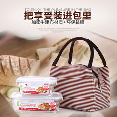 Insulated bag with rice, refrigerated picnic bag,primary school students' portable lunch bag Brown stripe one size