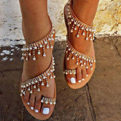 Water diamond Roman pearl sandals handmade beaded flat sandals for women one color 42