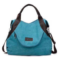 Large Pocket Casual Tote Women's Handbag Shoulder Handbags Canvas Leather Capacity Bags For Women blue one size