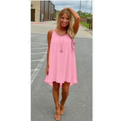 fluorescence female summer dress chiffon voile Condole belt dresses sexy Womens Clothing l pink