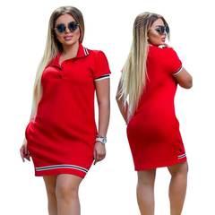 Fashion Women Polo Dress Big Size  Oversized Above Knee Mini Dresses Work Party Oversized Vestidos xxl red
