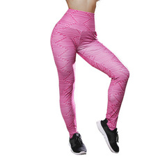 ★☆Spot/Yoga Pants/Thread Printing/Slim High-waist Sports Pants/Large Size Women's Wear/Summer Pink S