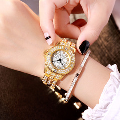Ladies watches fashion avant-garde genuine rhinestone quartz watches high-grade alloy watches golden 23cm