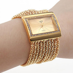 New ladies watches selling diamond square ladies bracelet watches ladies watches golden one size
