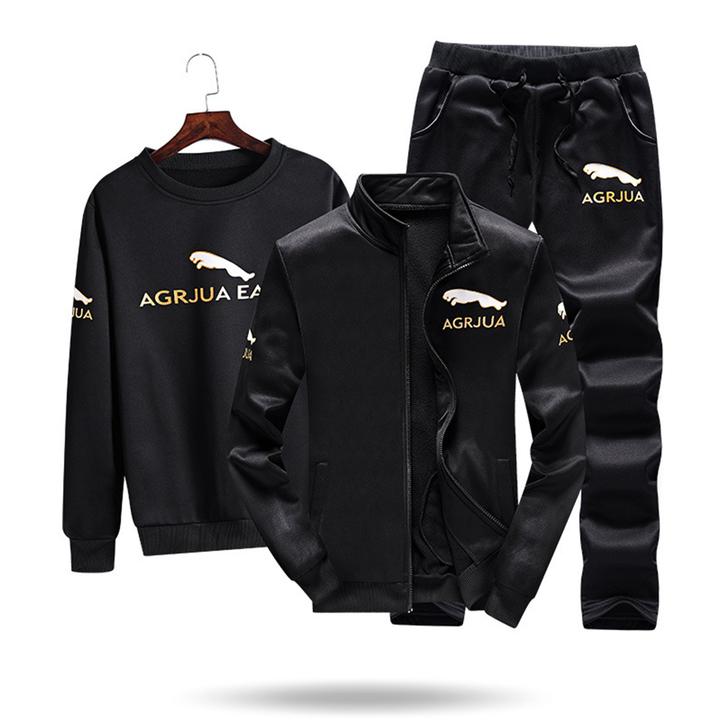 Men's leisure. Sports 3 piece set. Youth sportswear. Coat pants fashion trend black m
