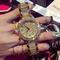 Authentic big luxury rhinestone ladies watch full diamond steel belt quartz watch fashion trend golden one size