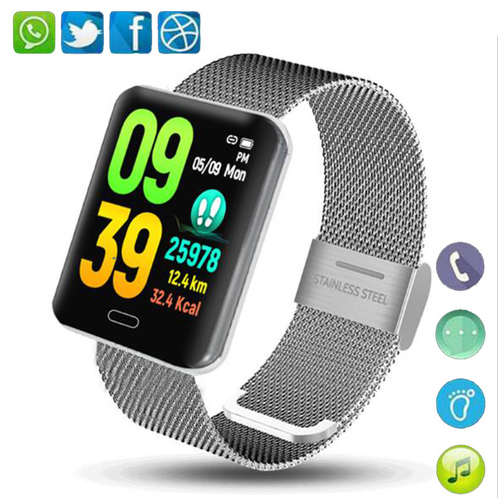 B8 Wearable Smart Watch With Hands-Free Call Phone Clock Push Message For Android Phones black standard